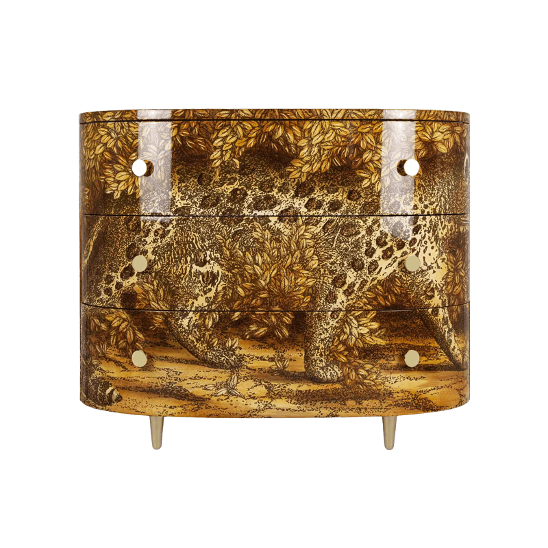 Curved chest of drawers leopardo - Fornasetti mobili ...